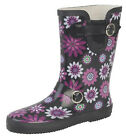 SIZE 4 5 6 7 8 BLACK PURPLE WHITE FLOWER PATTERN COLOURED WELLINGTONS WELLY BOOT