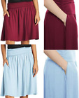 NEW Women M L XL XXL RED or BLUE SKIRT w/POCKETS Rayon Spandex High Waist FLARED