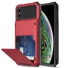 For iPhone X/XR/XS Max Shockproof Rugged Case Cover With Card Wallet Holder Slot