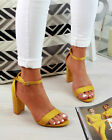 New Womens High Block Heel Sandals Peep Toe Ankle Strap Comfy Shoes Sizes 3-8