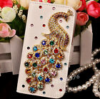 New Diamonds Crystal Peacock Leather Flip slots Wallet Phone Cover skin Case Y13