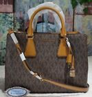 MICHAEL KORS CAMILLE LARGE Satchel Crossbody Bag In BROWN/ACORN PVC Leather $448