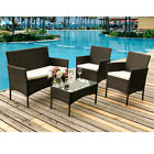 Garden Rattan Furniture 4 Pieces Set Outdoor Dining Set Table Chair Conservatory