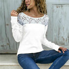 UK Womens Plus Size T Shirt Blouse Pullover Ladies Casual Tee Jumper Lace Tops