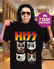 Kiss Hiss Cat Music Lovers T Shirt Black Cotton Full Size image