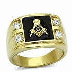 Masonic Stainless Steel 316 Lodge Ring, IP 14kt Gold,  AAA Grade CZ Clear, 10