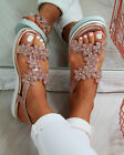 New Womens Flatform Sandals Embellished Slingback Comfy Holiday Shoes Sizes 3-8