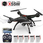 5 Battery RC Drones Quadcopter Syma X5SW WIFI Camera FPV Headless Mode Easy Play