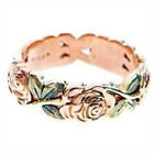 Exquisite Rose Gold Rose Floral Ring Green Leaf Flower Wedding Jewelry Size 6-10 image