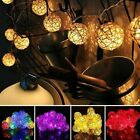20 Led Rattan Ball String Lights Home Garden Wedding Fairy Lamp Party Xmas Decor