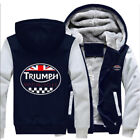 Hoodie Thicken fleece Sweatshirts TRIUMPH MOTORCYCLE Warm Winter Jacke Navy Grey £22.28 GBP on eBay
