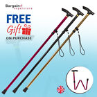 Folding Walking Stick in Gold, Red & Black. Gel T Grip Handle Height Adjustable