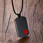 Black Medical Alert ID Dog Tag Pendant Men Necklace Stainless Steel Nylon Rope