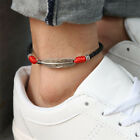 Boho Handmade Man Feather Leather Rope Anklets Barefoot Sandal Beach Jewelry IJ image