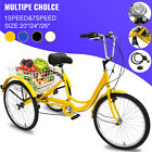 20/24/26' Adult Tricycle 1/7 Speed 3-Wheel For Shopping W/ Installation Tools