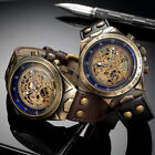 Automatic Watches Men Mechanical Watch Skeleton Bronze Steampunk Transparent USA image
