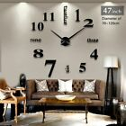 Modern Wall Mount Large Clock 3D Walls Decoration Black Silver Mirror Stick On