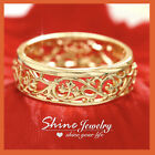 18k Gold Gf Antique Filigree Solid Engagement Wedding Eternigy Plain Band Ring