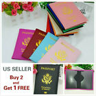 Внешний вид - LEATHER PASSPORT HOLDER COVER WALLET TRAVEL CASE EMBLEM GOLD