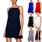 Womens Plain High Square Neck Ladies Strappy Camisole Tank Vest Mini Swing Dress
