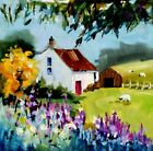 "Original Oil Painting~""Flower Garden & Old Cottage""~Option Framed/Unframed"