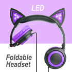 Kids Foldable LED Glowing Cat Ear Headset Gaming Headphone Earphone for Tablet