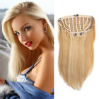 15-24inch Long Straight Machine Weft 3/4 Half Wig 100% Remy Human Hair Extension
