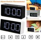 LED Digital Alarm Clock USB Port Snooze Table Clock Electronic Clock Thermometer
