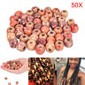50pcs Dreadlock Beads Wooden Hair Braiding Tube Rings Extension Accessories TDO