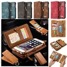 Genuine Leather Removable Magnetic Multifunction Zipper Wallet Card Case Cover $13.85 USD on eBay