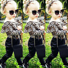 US Boutique Newborn Kids Baby Girl Leopard Romper Tops Long Pants Outfit Clothes