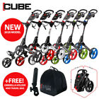 Cube 3-Wheel Golf Push Trolley *ALL COLOURS* - NEW! 2019 +FREE GIFTS