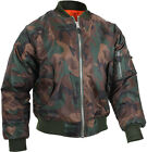 MA-1 Flight Jacket Military Bomber Coat Reversible Orange MA1 Army Air Force