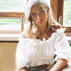 Womens Summer Ruffle Off Shoulder Lace Babydoll Tops Puff Sleeve Holidey Blouse