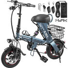 "12"" 250W Folding Electric Bike 36V8AH Battery 22Mph Speed 22Miles Range W/Basket"