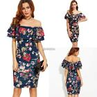 New Fashion Women Casual Ruffle Slash Neck Off the Shoulder Floral Sexy B98B
