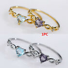 Gorgeous Heart Cut Colorful Topaz Wedding Ring Silver/Gold Promise Jewelry* image