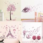 Wall Sticker Butterfly Flowers Tree Living Room Decal Pink Girls Art Home Decor