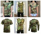 Mens Womens Kids Teens Army Training Gym Outdoor T-SHIRT Tee Tank -Woodland Camo image