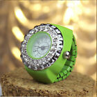 Women Girls Crystal Ring Watch Steel Stretchy Quartz Finger Watches Nice Gifts