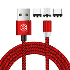 1m/2m 360° Round Type C Micro USB Charging Cable Magnetic Charger Cord Lot US