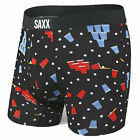"Saxx Men's Vibe Slim Fit 5"" Boxer Brief Underwear Black Beer Champs Clothing Spo"