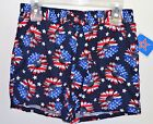 New USA Stars and Stripes Red White Blue Flowers Girls Shorts American Flag