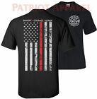 THIN RED LINE FLAG FIREFIGHTER FIRE DEPARTMENT T-SHIRT TEE FIRE FIGHTER USA HERO image