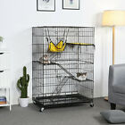 4-Tier Large Wire Pet Cage Playpen for Cats Outdoor Indoor Use