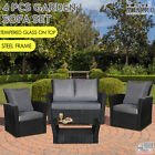 New Rattan 4pcs Garden Sofa Set 2+1+1 With Garden Table Outdoor Furniture