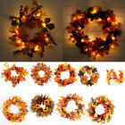 Party Decor Favor Warm White LED String Light Wreath Artificial Maple Garland UK