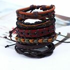 Mens Womens Beaded Surfer Bracelet Bead Surf Wristband Stretch Leather Bracelets