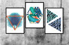 Set of 3 Colourful Abstract Home Poster Prints Decor Wall Art Gift