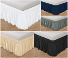 """Top-Knot Tassle Ball Bed Ruffle Skirt Wrap Around Bed Elastic Style 14"""" Drop  image"""